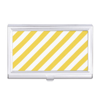Yellow and White Diagonal Stripes Pattern Business Card Holder