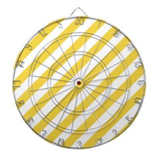 Yellow and White Diagonal Stripes Pattern Dart Boards