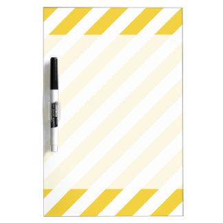 Yellow and White Diagonal Stripes Pattern Dry Erase Board