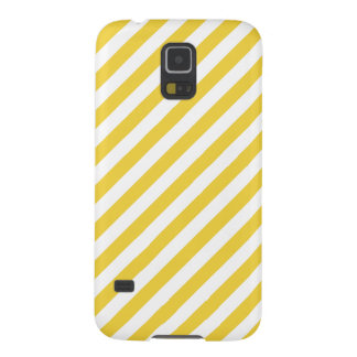 Yellow and White Diagonal Stripes Pattern Galaxy S5 Covers