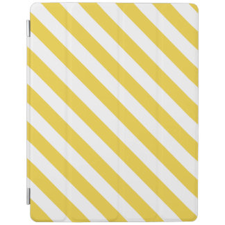 Yellow and White Diagonal Stripes Pattern iPad Cover