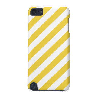 Yellow and White Diagonal Stripes Pattern iPod Touch (5th Generation) Case