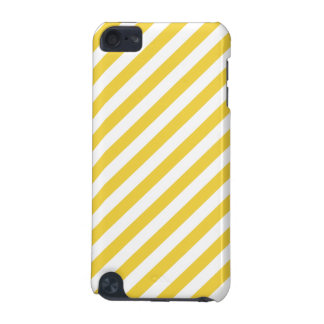 Yellow and White Diagonal Stripes Pattern iPod Touch (5th Generation) Covers