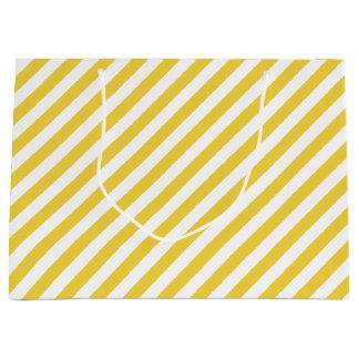Yellow and White Diagonal Stripes Pattern Large Gift Bag