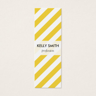 Yellow and White Diagonal Stripes Pattern Mini Business Card