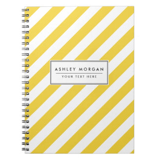 Yellow and White Diagonal Stripes Pattern Notebooks