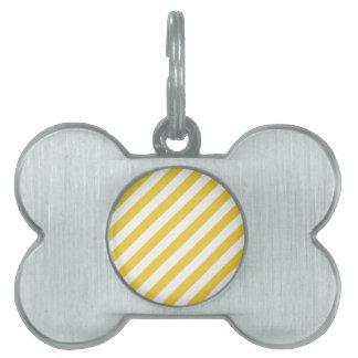 Yellow and White Diagonal Stripes Pattern Pet Tag