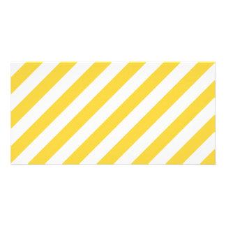 Yellow and White Diagonal Stripes Pattern Photo Cards