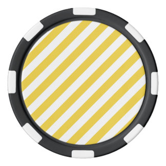 Yellow and White Diagonal Stripes Pattern Poker Chips