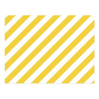 Yellow and White Diagonal Stripes Pattern Postcard