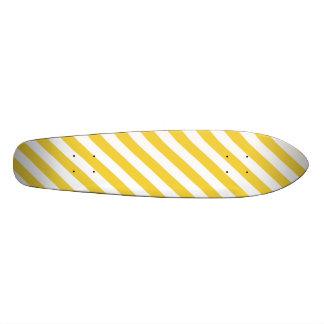 Yellow and White Diagonal Stripes Pattern Skate Board Deck