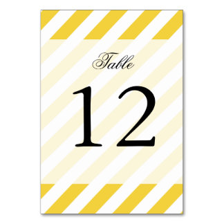 Yellow and White Diagonal Stripes Pattern Table Cards