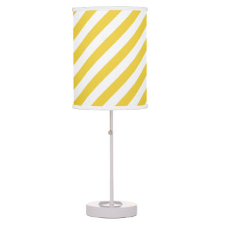 Yellow and White Diagonal Stripes Pattern Table Lamp