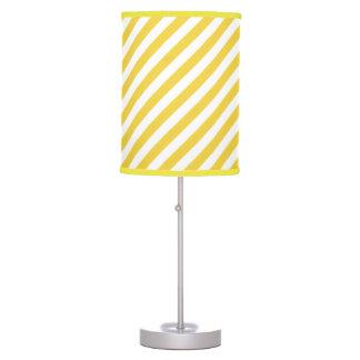 Yellow and White Diagonal Stripes Pattern Table Lamp