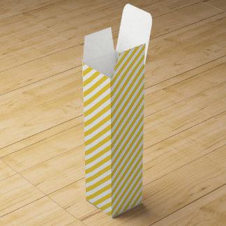 Yellow and White Diagonal Stripes Pattern Wine Gift Box