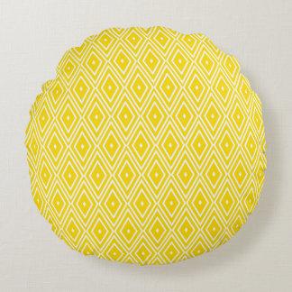 Yellow and White Diamonds Round Pillow