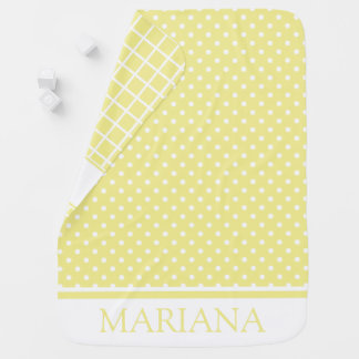 Yellow and White Dots and Checks Personalized Baby Blanket