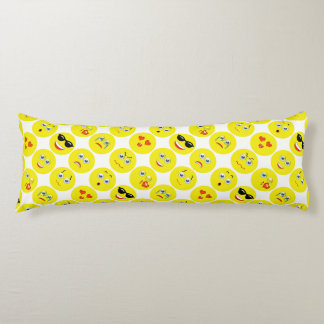 Yellow And White Emoji Pattern Body Pillow