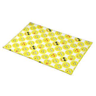 Yellow And White Emoji Pattern Placemat