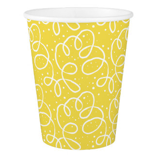 Yellow and White Festive Pattern Party Paper Cups