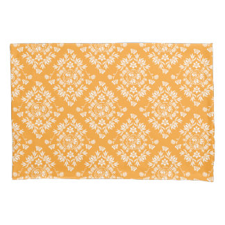 Yellow and White Floral Damask Pillow Case