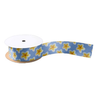 Yellow and white flowers on cornflower blue satin ribbon