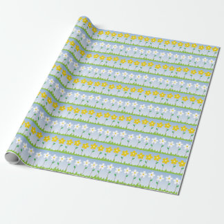 Yellow and White Flowers Pattern Wrapping Paper