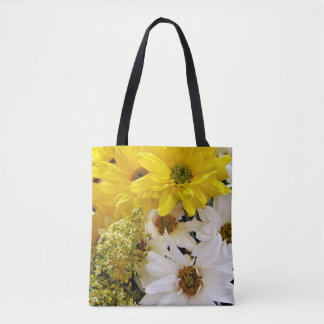 Yellow and White Flowers Print Tote Bag