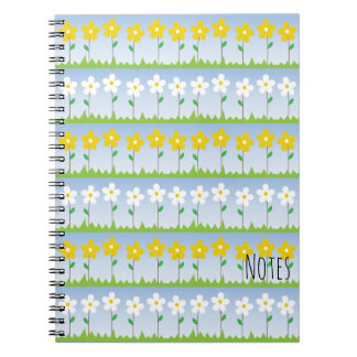 Yellow and White Flowers Spiral Notebook