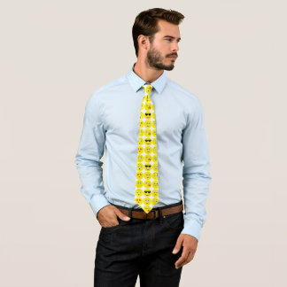 Yellow And White Funny Emoji Pattern Tie