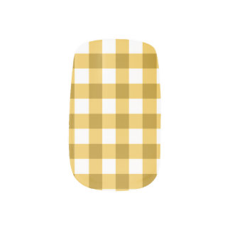 Yellow And White Gingham Check Pattern Nail Stickers