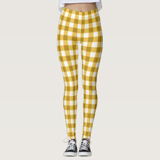 Yellow And White Gingham Checked Leggings