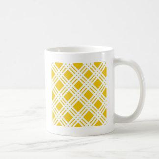 Yellow and White Gingham Classic White Coffee Mug