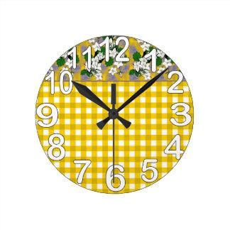 Yellow and white gingham country kitchen round clock