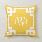 Yellow and White Greek Key Monogram Throw Pillow