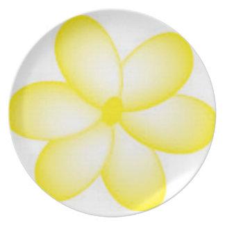 Yellow and White Hawaiian Plumeria Plate