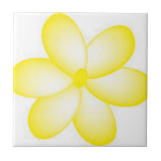 Yellow and White Hawaiian Plumeria Tile