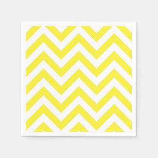 Yellow and White Large Chevron ZigZag Pattern Napkin