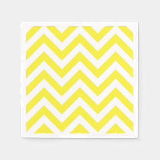 Yellow and White Large Chevron ZigZag Pattern Paper Napkin
