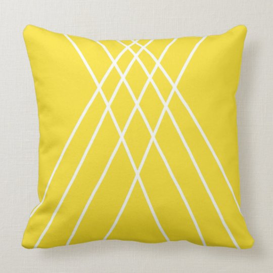 Yellow and White Minimalist Design Throw Pillow