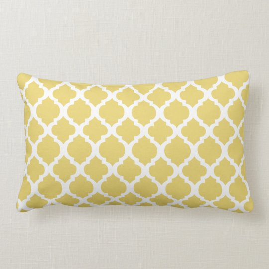 Yellow and white Moroccan Throw Pillow