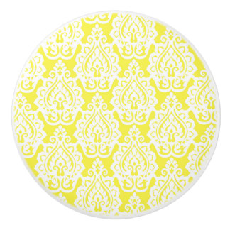 Yellow and White Patterned Modern Knob Ceramic Knob