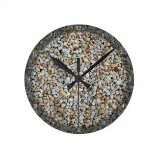 Yellow and White pebble stone texture Round Clock