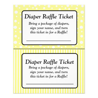 Yellow and White Polka  Baby Shower Raffle Ticket Flyer