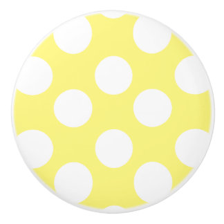 Yellow and White Polka Dot Furniture Knob Ceramic Knob