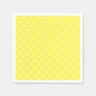 Yellow and white polka dot glamour modern paper napkins