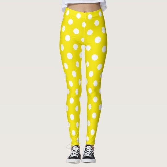 Yellow and White Polka Dot Leggings
