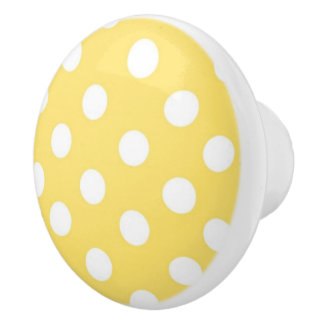 Yellow and white Polka dot pattern Ceramic Knob