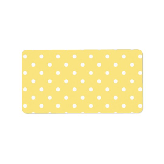Yellow and White Polka Dots Pattern. Label