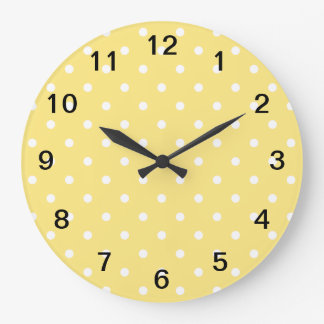 Yellow and White Polka Dots Pattern. Large Clock